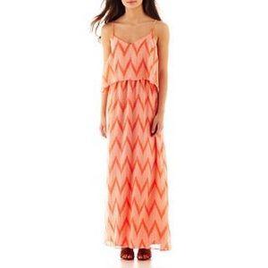Bisou Bisou Coral Chevron Maxi Dress